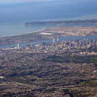 Downtown San Diego and the harbor from a commercial jet.