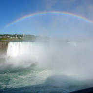 The American Falls with a rainbow.