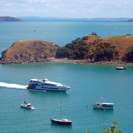 A ferry entering Matiata Bay on Waiheke Island outside Auckland, New Zealand.