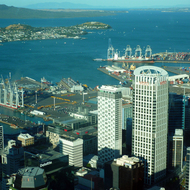 A view of Auckland and it's bay from the Sky Tower.
