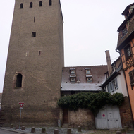 A guard tower in the old town section of Strasbourg.