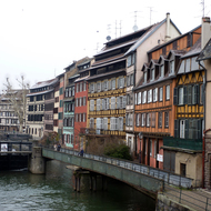 The river and a lock in old town Strasbourg.