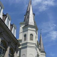 The corner of the Cabildo building and the St. Louis Cathedral on Jackson Square in New Orleans.