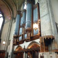 The organ in the Rockefeller Memorial Chapel on the University of Chicago campus.