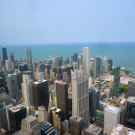 A view of downtown Chicago from the Willis Tower (formerly the Sears Tower).