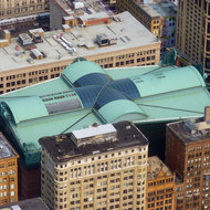 The roof of the Chicago Public Library as seen from the Willis Tower (formerly the Sears Tower).