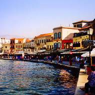 The Chania harbor, lined with hotels and restaurants.