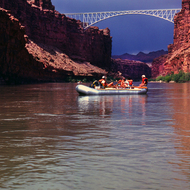 A river boat just above the Navajo Bridge at the beginning of the Grand Canyon.