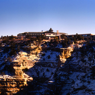 The El Tovar Hotel on the South Rim of the Grand Canyon in winter.