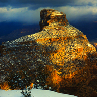O'Neill Butte in the Grand Canyon in winter.