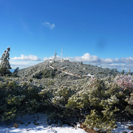 Communication towers on one of highest of the Mount St. Helena peaks.