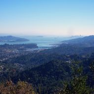 A view of northern San Francisco Bay from Mt. Tamalpais, including Sausalito and San Francisco skyscrapers.