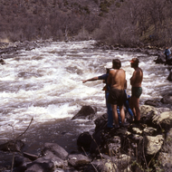 Guides scouting Caldera Rapid on the Upper Klamath River.
