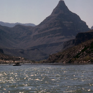 A view of Diamond Peak from the Colorado River.