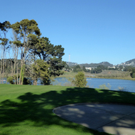 A view of Lake Merced Park in San Francisco.