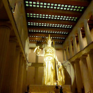 A reproduction of the Athena Parthenos statue thought to have been in the original Parthenon in Athens, Greece.