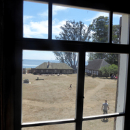 A view of Fort Ross State Historic Park from within one of its buildings.