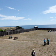 A view of the Pacific Ocean from within Fort Ross State Historic Park.