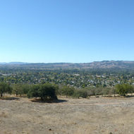 A panoramic view of part of the city of Sonoma and Sonoma Valley from the Montini Preserve.
