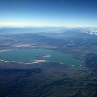 A view of Mono Lake from a commercial aircraft.