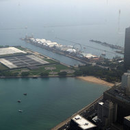 A view of the Jardine Water Purification Plant and Navy Pier from the John Hancock Center.