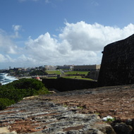 A view towards old San Juan from the San Felipe del Morro Fortress, on Punta del Morro.