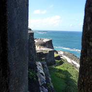 A view along the fortress wall from the guard tower of the San Felipe del Morro Fortress, on Punta del Morro.