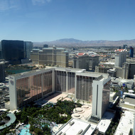 A view of Las Vegas and the mountains to the west from the High Roller observation wheel.