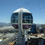 The High Roller observation wheel in Las Vegas, with the airport in the background.