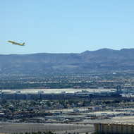 A plane taking off from the McCarran International Airport in Las Vegas, Nevada.