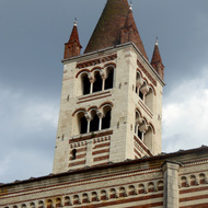 The tower of the Church of Santa Anastasia in Verona, Italy.