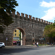 The wall around the old city of Verona.