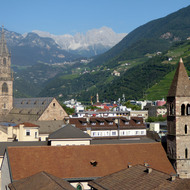 A view across Bozen-Bolzano, Italy to the Dolomites beyond.
