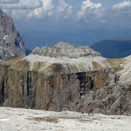 A view of the Dolomites from the top of the Sass Pordoi cable car.