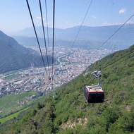The cable car from Bozen-Bolzano into the mountains.