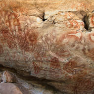 Aboriginal rock art in the Cathedral Cave.