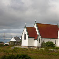 Red roofed church at Peggy's Cove.