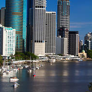 Brisbane River and the Eagle Street pier precinct from Kangaroo Point cliffs.