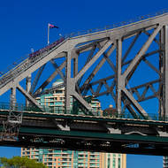 Flying the flag on the southern end of the Story Bridge.