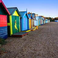 Dendy Street Beach's iconic bathing boxes.