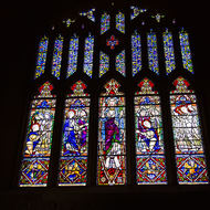 Stained glass window of St Stephen's chapel in downtown Brisbane.