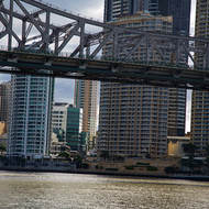 Downtown Brisbane under the Story bridge over the Brisbane River.