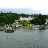 Belsfield hotel at  the Bowness ferry terminal on Lake Windermere.