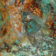 Chalcopyrite copper deposits in the abandoned underground Gadens mine.