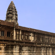 Panorama of the north wing of the eastern gallery of enclosure II of Angkor Wat.