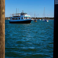 Local ferry boat MV Mirigini calls at Yamba, next stop Iluka.