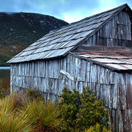 Rear of the old boatshed on Dove Lake.