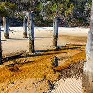 Small creek, slightly tannin stained, runs out over the beach under McKenzie's jetty.