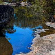Reflections in a pool on Bald Rock Creek.