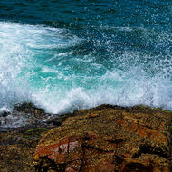Spray as the waves break at South West Rocks.